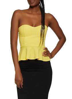 Crepe Knit Peplum Top - 3064058752095