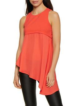 Crepe Knit Open Back Asymmetrical Top - 3064058752413