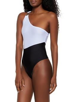 Two Tone One Shoulder Spandex Bodysuit - 3064058752715
