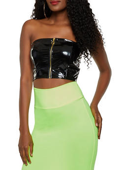 Faux Patent Leather Zip Tube Top - 3064058753697