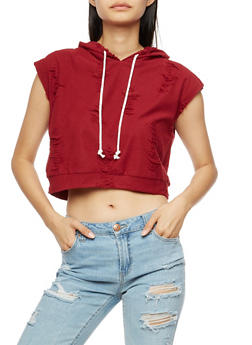 Sleeveless Distressed Hooded Crop Top - 3064067330099