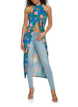 Slit Front Floral Maxi Top - 3064074290348