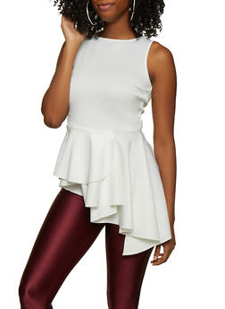 Sleeveless Asymmetrical Peplum Top - 3064074297156