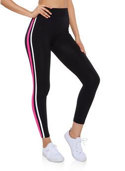 Varsity Stripe Fleece Lined Leggings - 3066051064393