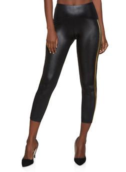 Varsity Stripe Faux Leather Leggings - 3066051069446