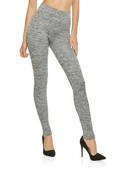 Marled Fleece Lined Leggings - 3066061632201