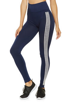 Marled Varsity Stripe Leggings - 3066061632416