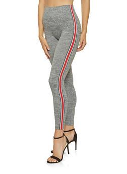 Striped Tape Marled Leggings - 3066061633380