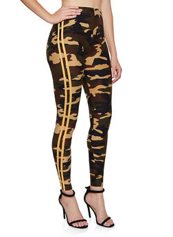 Camo Yellow Varsity Stripe Leggings - 3066061634015