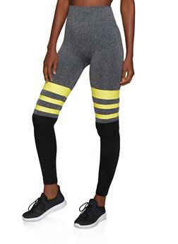 Color Block Striped Detail Leggings - 3066062903108