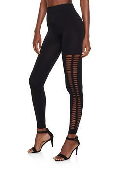 Slashed Side Leggings - 3066062903309