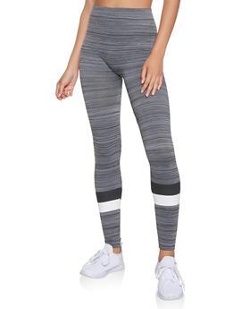 Stripe Detail Marled Leggings - 3066062903506
