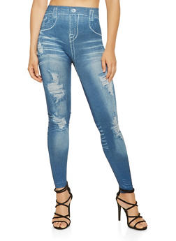 Denim Print Leggings - 3066062906344