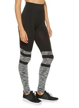 Marled Color Block Leggings - 3066062907142