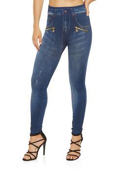 Denim Print Zipper Detail Leggings - 3066062907611