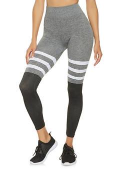 Striped Color Block Leggings - 3066062907629
