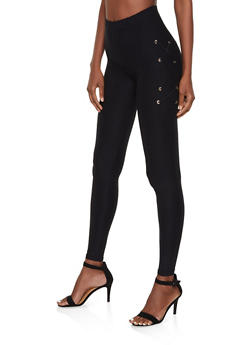 Lace Up Detail Leggings - 3066062909016