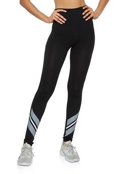 Striped Ankle Detail Leggings - 3066062909035