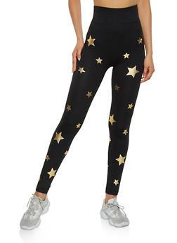 Foil Star Print Leggings - 3066062909047
