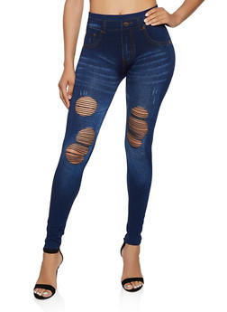 Ripped Denim Knit Leggings - 3066062909049