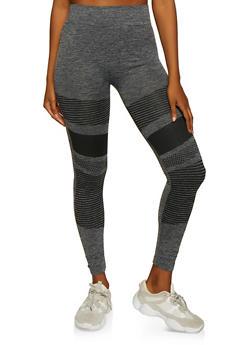 Variegated Stripe Detail Leggings - 3066062909090