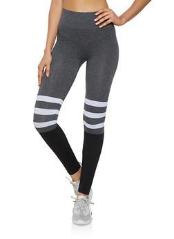 Striped Detail Color Block Leggings - 3066062909267