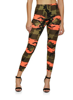 Camo Soft Knit Leggings - NEON ORANGE - 3066063404393