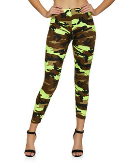 Camo Soft Knit Leggings - NEON YELLOW - 3066063404393