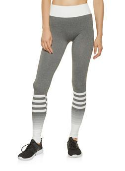 Striped Color Block Leggings - 3066069022850