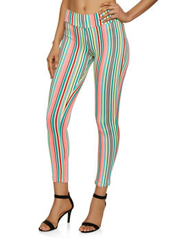 Neon Striped Soft Knit Leggings - 3066074010109
