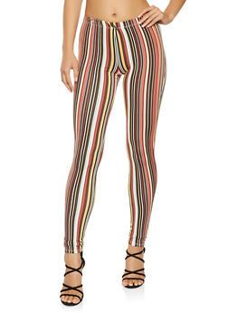 Striped Soft Knit Leggings - 3066074015859