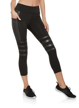 Shimmer Detail Cropped Leggings - 3066074340001