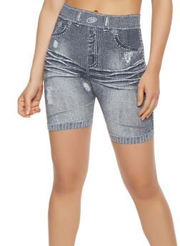 Denim Print Bike Shorts - 3068041450555