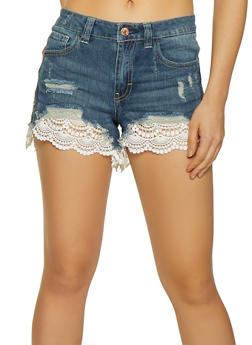 Almost Famous Crochet Trim Jean Shorts - 3070015990537