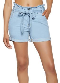 Almost Famous Paper Bag Waist Denim Shorts - 3070015992911