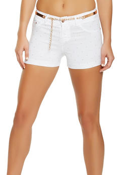 Studded Stretch Shorts with Belt - 3070056576991