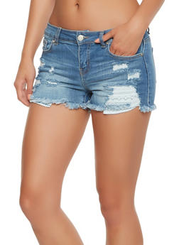 WAX Frayed Denim Shorts - 3070071619010