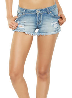 WAX Frayed Denim Shorts - 3070071619063