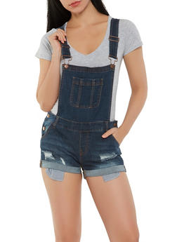 WAX Distressed Denim Shortalls - 3070071619078