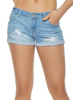 WAX Distressed Whisker Wash Denim Shorts - 3070071619111