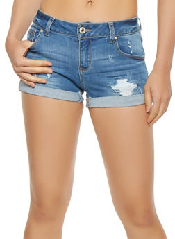WAX Distressed Whisker Wash Denim Shorts - 3070071619111
