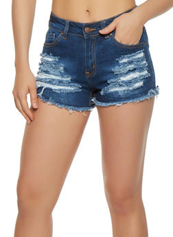 WAX Frayed Denim Shorts - 3070071619113