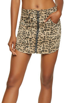 Almost Famous Leopard Print Denim Skirt - 3071015990044