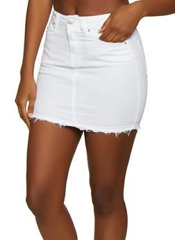 Almost Famous Frayed Denim Mini Skirt - 3071015991755