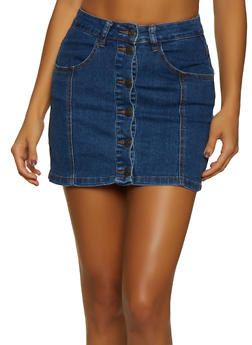 Almost Famous Button Front Mini Jean Skirt - 3071015993737