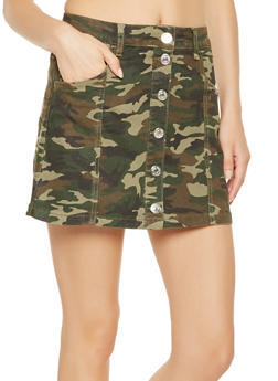 Almost Famous Camo Button Front Skirt - 3071015993785