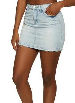 Almost Famous Frayed Jean Mini Skirt - 3071015995571