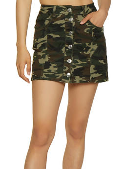 Almost Famous Button Front Camo Mini Skirt - 3071015995858