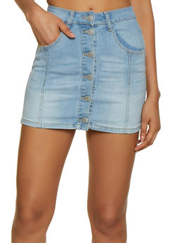 Almost Famous Button Front Denim Mini Skirt - 3071015997373