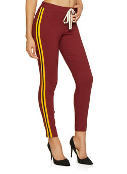 Striped Tape Trim Hyperstretch Pants - 3071056572087